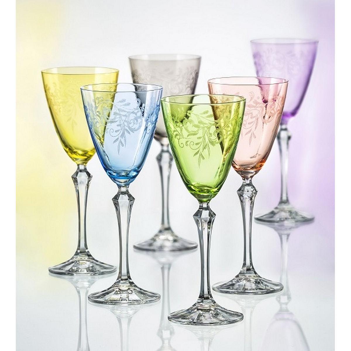 Floral Set 6 Pahare Cristalin Vin 250 Ml 2021 aranjareamesei.ro