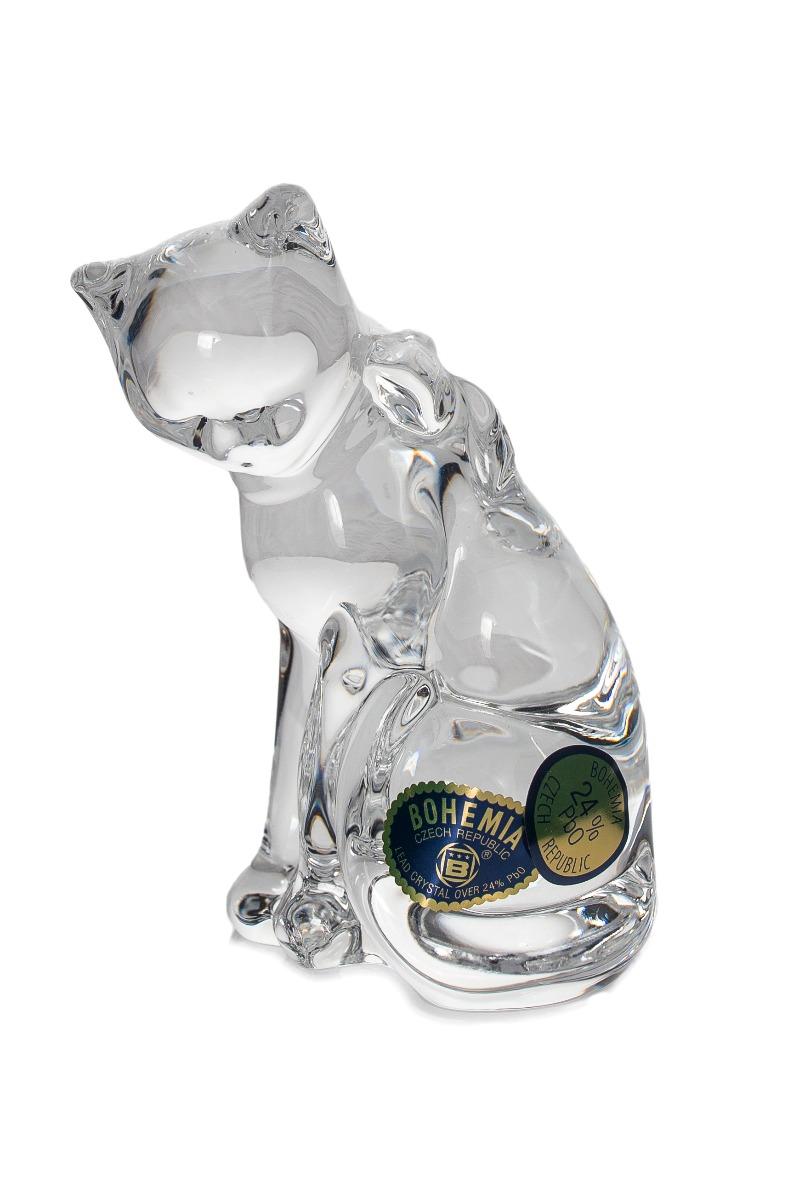 "Figurina Cristal Bohemia ""Pisica"" 9 Cm 2021 aranjareamesei.ro"