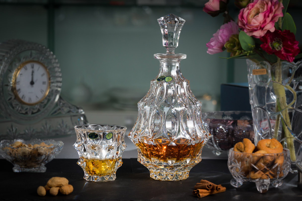 Fortune Set 6 Pahare Si Decantor Cristal Bohemia Whisky 2021 aranjareamesei.ro