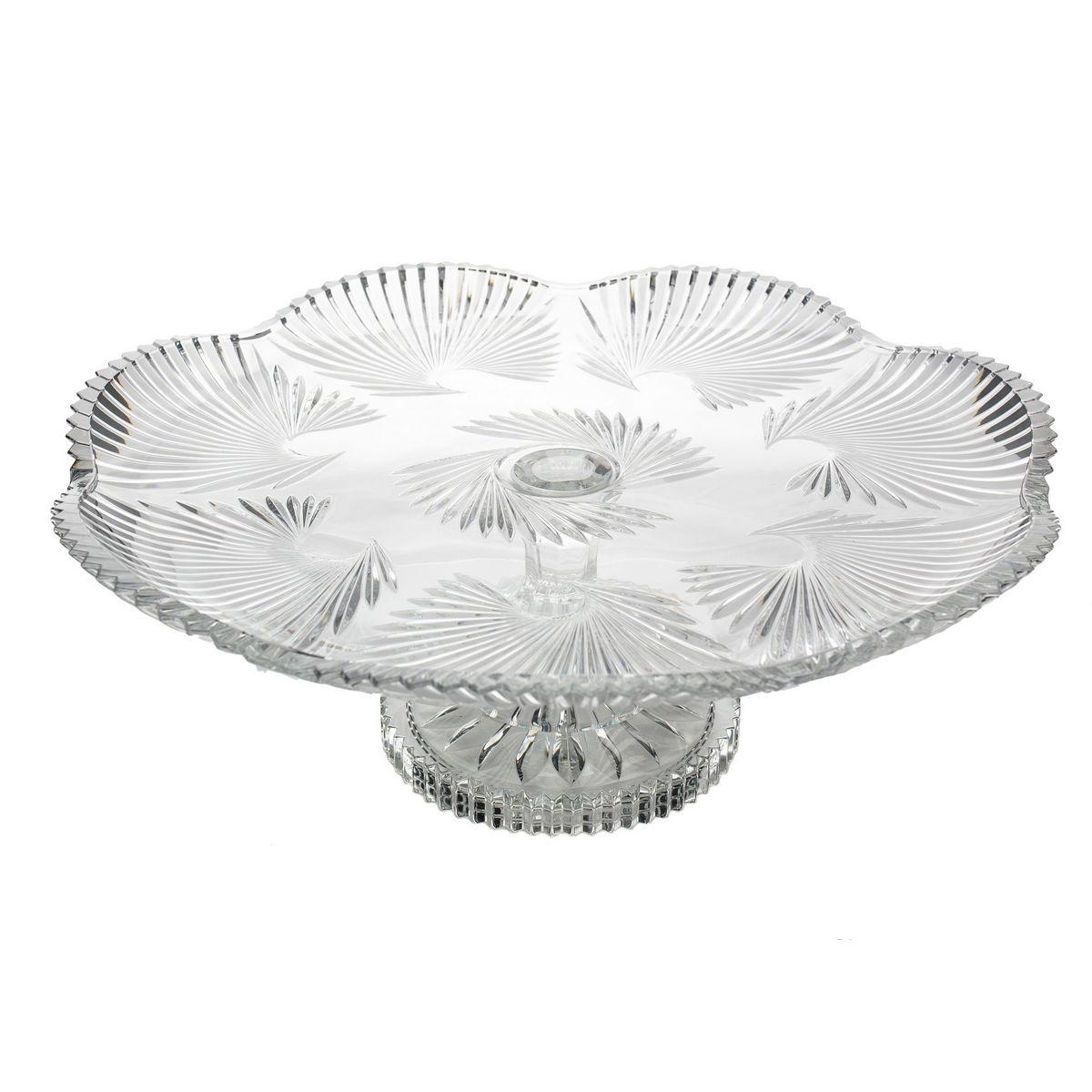 Platou Cristal Bohemia Cu Picior 40 Cm 2021 aranjareamesei.ro