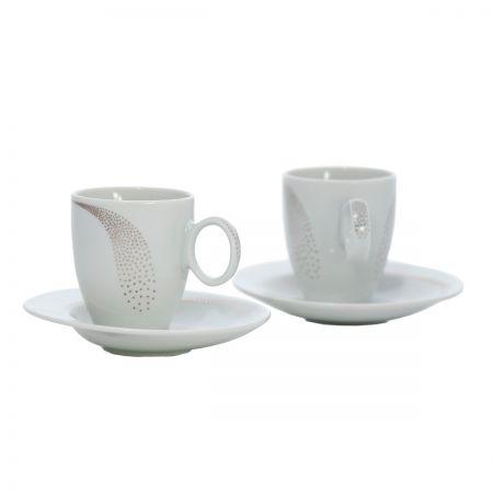 FUTURE PLATINUM Serviciu cafea portelan decor platina 6 persoane 140 ml
