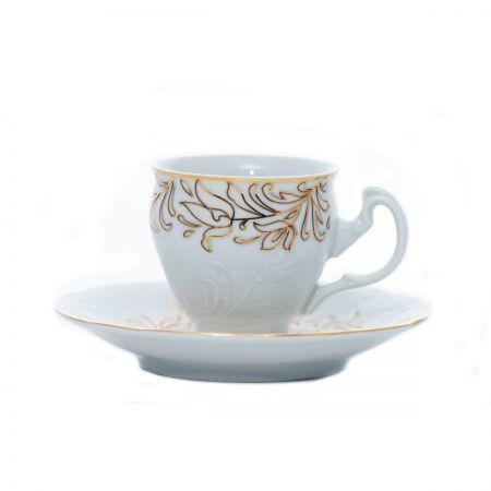 TULIP Serviciu cafea portelan decor aur 6 persoane 140 ml
