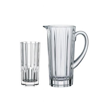 ASPEN Set 4 pahare colddrinks si carafa cristalin