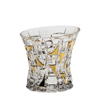 PATRIOT Set 6 pahare cristal Bohemia decor aur whisky 200 ml