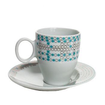 FUTURE Serviciu ceai portelan Bohemia decor argint 6 persoane 220 ml