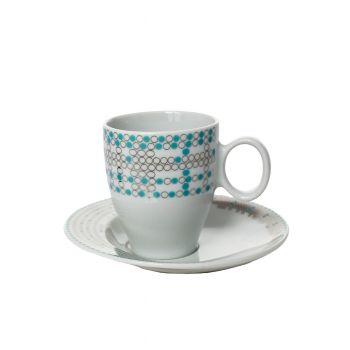 FUTURE Serviciu cafea portelan Bohemia decor argint 6 persoane 100 ml