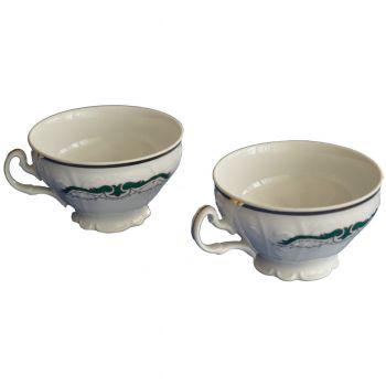 BERNADOTTE Serviciu ceai portelan decor verde 6 persoane 220 ml