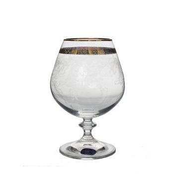 GIULIA Set 6 pahare cristalin decor aur brandy 400 ml