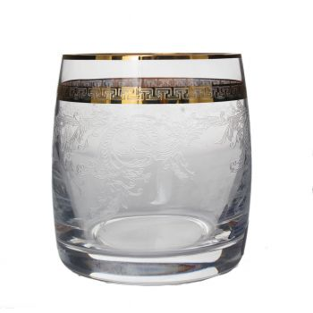 GIULIA Set 6 pahare cristalin decor aur whisky 290 ml