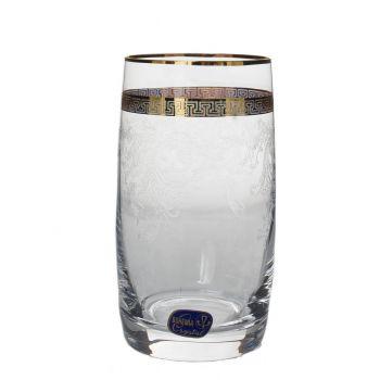 GIULIA Set 6 pahare cristalin decor aur apa 380 ml