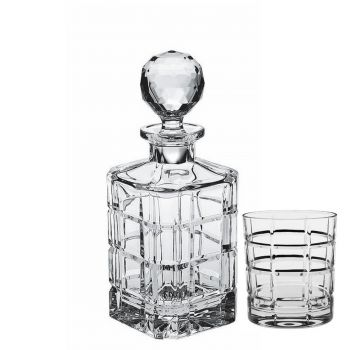 SQUARE Set 6 pahare si decantor cristal whisky