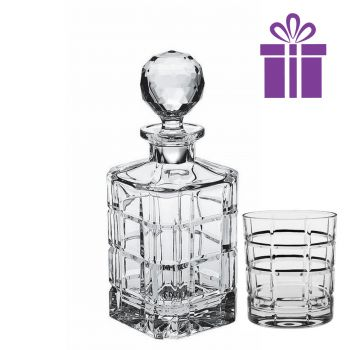 SQUARE Set 6 pahare si decantor cristal Bohemia whisky
