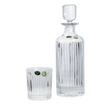 SKYLINE Set 6 pahare si decantor cristal Bohemia whisky