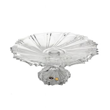 IKAROS Platou cristal Bohemia cu picior 33 cm