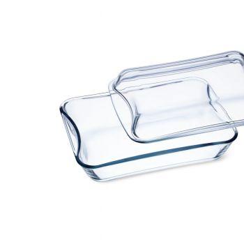 EXCLUSIVE Vas sticla termorezistenta rectangular cu capac 2.5 l