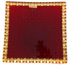 BOSSA NOVA Platou cristalin red/gold patrat 28 cm