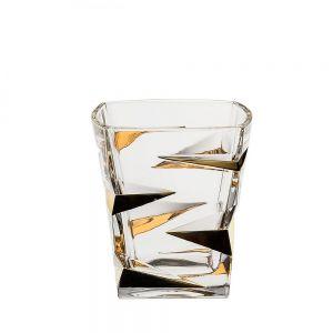 ZIG ZAG  Set 6 pahare cristal Bohemia decor aur whisky 360 ml