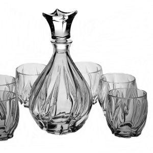 BROMELIAS Set 6 pahare si decantor cristal whisky