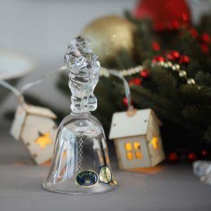 "Figurina clopotel cristal Bohemia ""Mos Craciun"" 12 cm"
