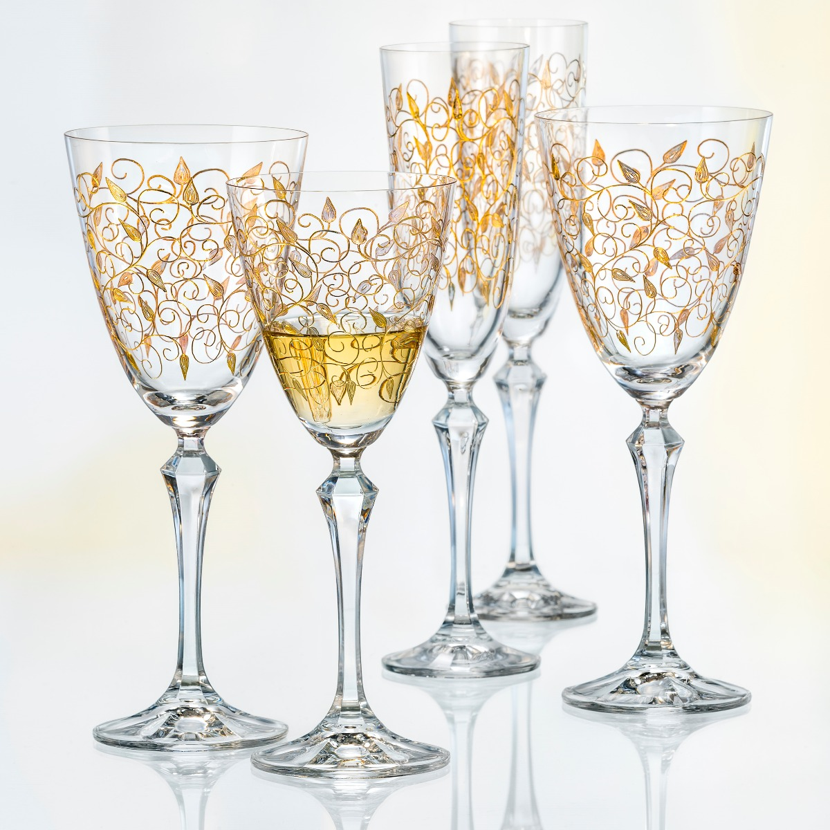 Leaves Set 6 Pahare Cristalin Decor Aur Sampanie 200 Ml 2021 aranjareamesei.ro