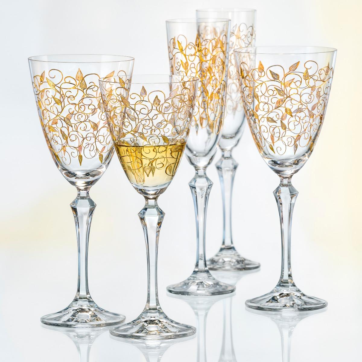 Leaves Set 6 Pahare Cristalin Decor Aur Vin 250 Ml 2021 aranjareamesei.ro